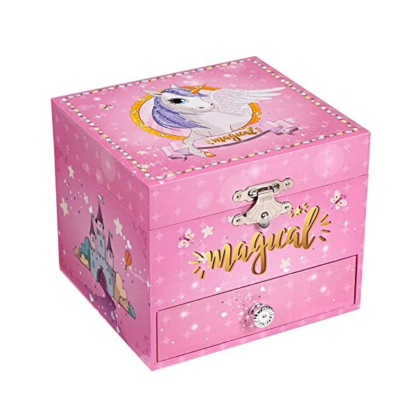 "SONGMICS Musical Jewelry Box, 4.7""L x 4.3""W x 3.9""H, Pink 3"