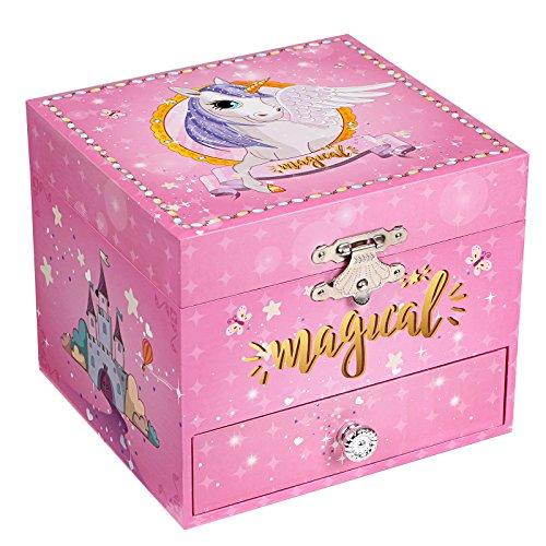SONGMICS Ballerina Music Box Sieradendoos, kleine muziekdoos met opbergruimte om op te winden, eenhoorn motief, lade, voor kleine meisjes, Roze JMC008PK