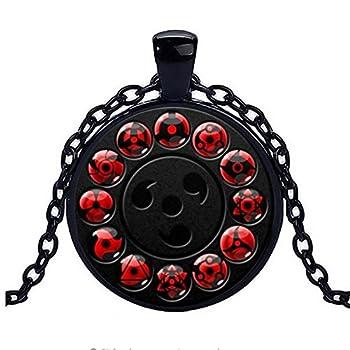 calhepco Naruto Shippuden Chain Sharingan Eye Black Necklace Game Fashion Charm Glass Cabochon Toy Pendant