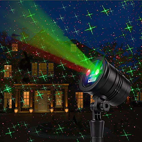 Christmas Laser Lights Projector Outdoor, Red and Green Star Projection Lights, 3 Working Modes, Landscape Projector Lights, Decoration for Outdoor and Indoor, Christmas, New Year, Holiday