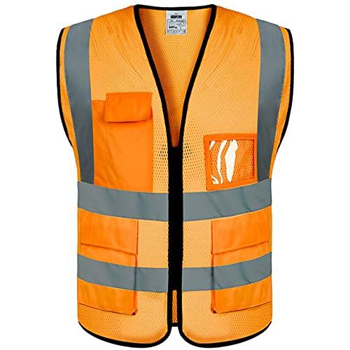evershareWarnweste mit Taschen und Reißverschluss, reflektierend, atmungsaktiv, hohe Reflektorstreifen, Mesh-Gewebe, Sicherheitsweste (XL/XXL), Orange, 27K59100N16O9F, Orange, XL