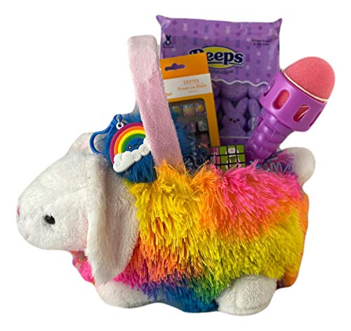 Easter Gift Basket for Girls Filled with Toys, Games, Candy, Peeps, and Crafts Kids Premade Stuffers