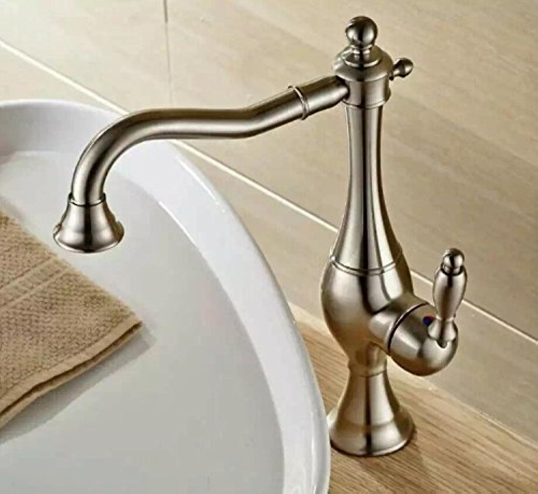 MangeooIm europischen Stil voll Kupfer verGoldet Schwarz kupfer Einzelzimmer Waschbecken Wasserhahn geleitet, Nickel Drahtziehen