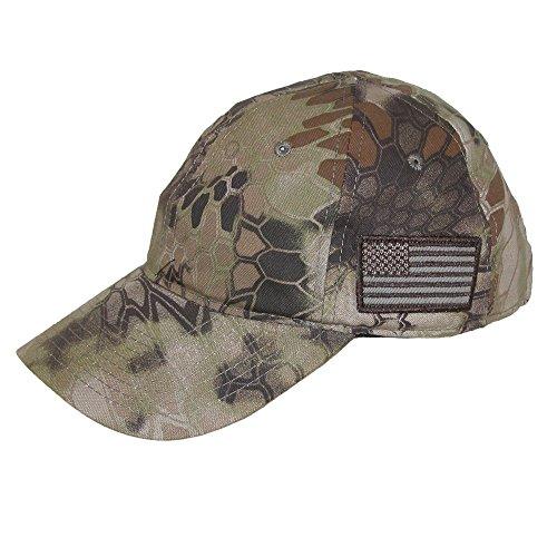 Kryptek Camouflage American Flag Baseball Cap, Highlander Khaki