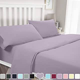 BYSURE 4 Piece Luxury Bed Sheet Set - Soft Durable Brushed Microfiber 1800 Thread Count Bedding Sheets with 15 Inch Deep Pockets, Wrinkle & Fade Resistant(Queen, Lavender)