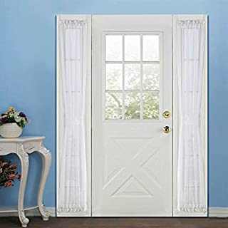 RHF Voile French Door Curtains - Sidelight 30W by 72L Set of 2 -White