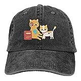 Bingyingne Cat Make Me Happy Lindo Gato Jugando con Pelota de Lana y Comida Dibujos Animados Negro Béisbol Sombreros de Vaquero Gorras de Mezclilla Unisex Ajustables Deporte Viajes al Aire Libre