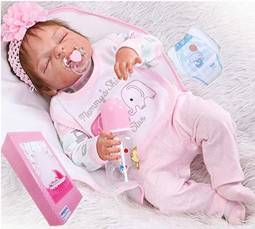 "Realistic Reborn Baby Girl Dolls Silicone Full Body 22"" Sleeping Anatomically Correct Baby Reborn Dolls Real Baby Washable Eyes Closed"