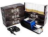JeVx Maquina Liadora de Tabaco + 1200 Tubos con Filtro OCB - Entubador Electrico para LLenado de Cigarros Entubar Cigarrillos de Fumar entubadora Electrica para liar (Azul)