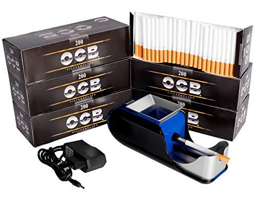 JeVx Maquina Liadora de Tabaco + 1200 Tubos con Filtro OCB - Entubador Electrico para LLenado de Cigarros Entubar Cigarrillos de Fumar entubadora Electrica para liar Azul