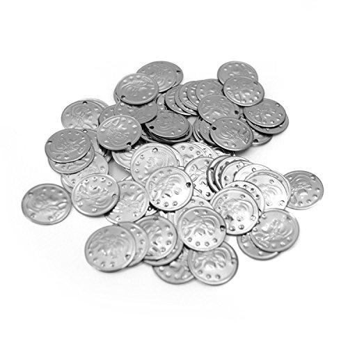 The Turkish Emporium Münzen, Bauchtanz Bastelmünzen basteln 20mm, ca.100 STK (Silber)