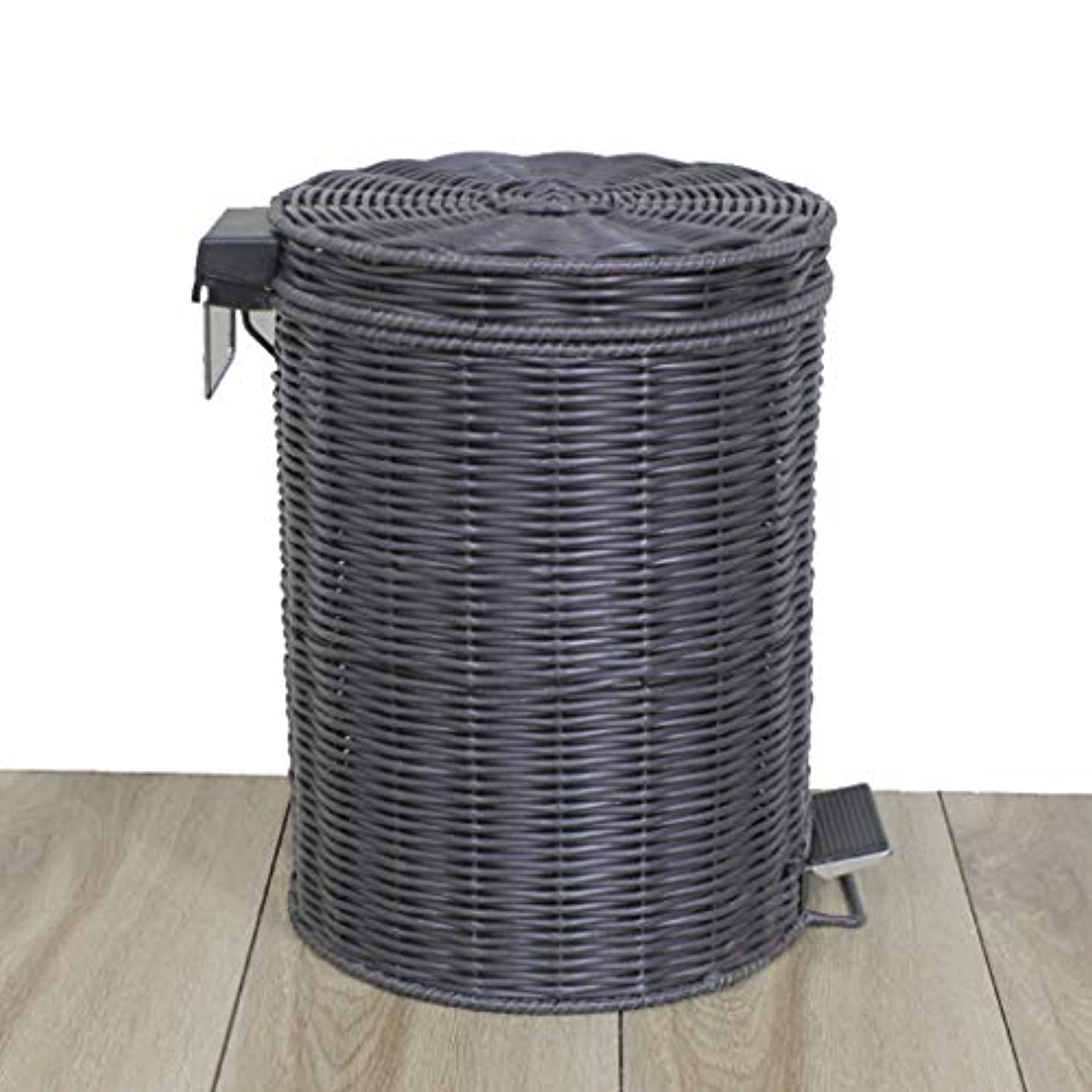 Plastic Rattan Trash Can Pedal 12 Liters with Lid Removable Inner Bucket Household Storage Bucket 27 X 41.5 cm 12 Liters (Color : Black)