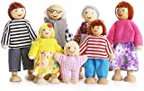 Aihoon Family Wooden Dolls Playset 7 People for Dollhouse, Lovely Figures Set for Children Pretend Dollhouse Toy