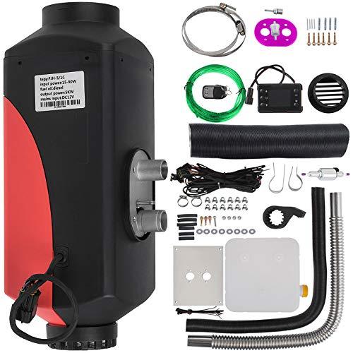 BuoQua Calentador de Aire Diesel 12V 5KW Calentador de Combustible Calefacción Estacionaria Diesel Calentador Coche Diesel Aire Calentador Motor Diesel (Rojo Y Negro)