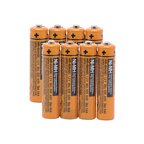 YXZHENG 8X AAA Battery HHR-65AAABU for Panasonic Cordless Phone 1.2V 630mAh Original New Rechargeable NI-MH (8X HHR-65AAABU)