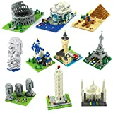DoxiGlobal 10 in 1 Mini City Architecture Building Blocks Set Eiffel Tower/Taj Mahal/Big Ben/Leaning Tower of Pisa World Famous Collection Model KIts Construction Educational DIY Gift-4500pcs (10 Set)