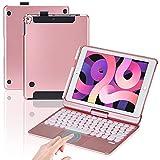 Funda de teclado inalámbrico para iPad 360° giratoria 7 colores retroiluminados compatible con teclado táctil, funda desmontable para iPad 10.2 2020, iPad 10.2 2019, iPad Pro10.5 (oro rosa)