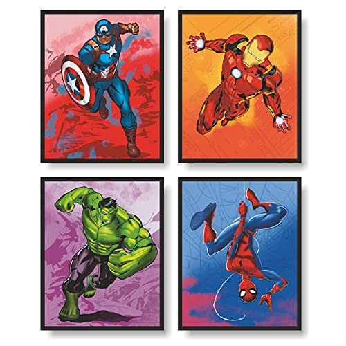 Avengers Superheroes Wall Decor Poster Prints, Superheros Watercolor Poster, Avengers Room Decor, Set of 4 FRAMELESS (8''x10''), Avengers Watercolor Poster, Avengers room decor for boys, Superheroes poster, Avengers prints, Avengers Room Decorations, Hulk Poster, Ironman Poster, Spiderman Poster, Captain America Poster, Superheroes Wall Art, Avengers Poster, Posters For Boys Room,