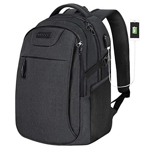 KROSER Laptop Rucksack 15,6 Zoll Schulrucksack Reise Daypack Wasserabweisende Laptoptasche mit USB-Ladeanschluss für Reisen/Business/College/Frauen/Männer Schwarz MEHRWEG