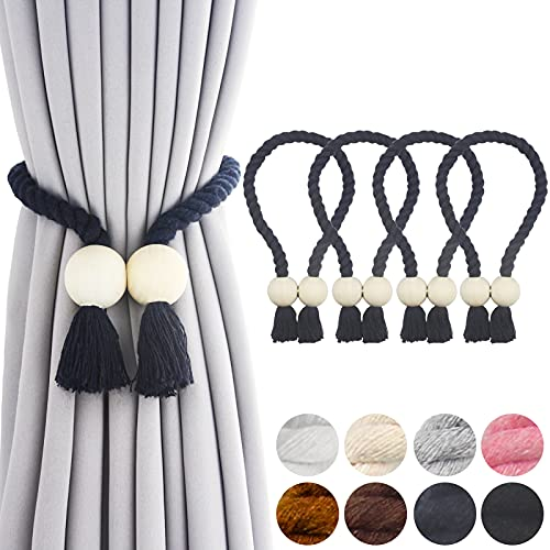 Porlau 4 Pack Navy Magnetic Curtain Tiebacks Cotton Hand Woven Tieback Holdback Decorative Tie Backs for Drapes with Durable Wooden Buckle No Tools Required