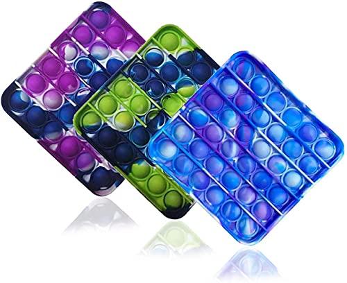 ZNNCO 3PCS Silicone Tie-dye Push pop Bubble Fidget Toy, Autism Special Needs Stress Reliever,...