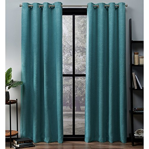 Exclusive Home Curtains Oxford Textured Sateen Thermal Window Curtain Panel Pair with Grommet Top, 52x96, Teal, 2 Count