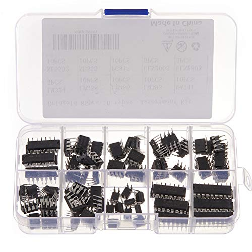 Bridgold 85 pcs 10 Types Integrated Circuit chip Assortment Kit,opamp,Single Precision Timer,pwm,Including:LM324 LM358 LM386 LM393 UA741 NE5532 NE555 PC817 ULN2003 ULN2803.