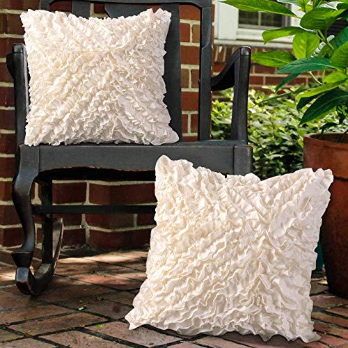 Leeden 18x18 Throw Pillow Covers Set of 2, Boho Decorative Pillowcases, Ruffle Square Cushion Cases Cover for Sofa Couch Bed Chair Bedding Home Décor Floral Soft Farmhouse Handmade 18 Inches (45x45cm)