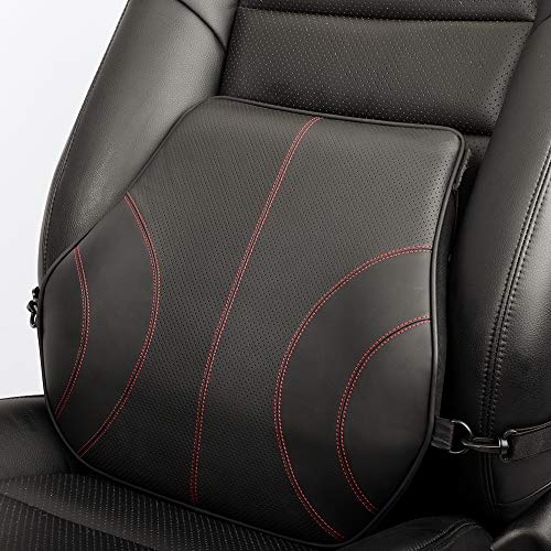 Aukee Lumbar Support for Car, Genuine Leather Memory Foam Pillow Lower Back Cushion for Office Chair...