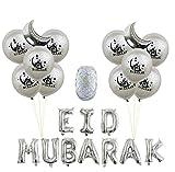 Decoración De Globos De Fiesta De 23 Piezas Para Eid Musulmán,Látex Natural,Sin Sustancias Nocivas Plateado