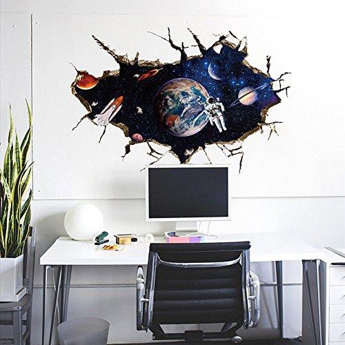 Wallpark Beau Galaxie 3D Espace Univers Astronaute Terre Planètes Amovible Stickers Muraux Autocollants, Enfants Bébé Chambre Pépinière DIY Décoratif Adhésif Stickers Mural