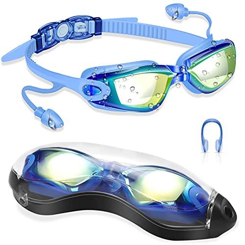 DAWINSIE Erwachsene Schwimmbrille, Schwimmbrill Jugendliche, 180 ° Weitwinkel Sicht, Anti-Beschlag, UV-Schutz Komfort taucherbrille antibeschlag mit Nasenklammern, Conjoined Ohrstöpsel, Brillenbox