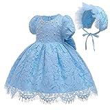 Gaga city Vestidos de Bebe Niña Bautizo Cumpleaños Boda Encaje Vestido Bebe Fiesta + Sombrero Traje de Ceremonia Vestido de Princesa con Lazos Azul claro/3M/59CM