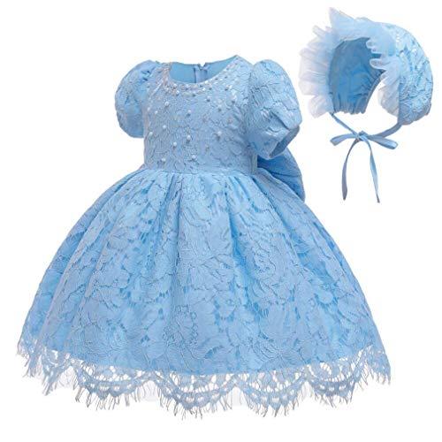 Gaga city Baby Spitzen Kleid Taufkleider Prinzessin Bowknot Blumenmädchenkleid Taufkleid Kleid Hochzeit Festzug Geburtstag Partykleid mit Mütze Hellblau/3M/59CM