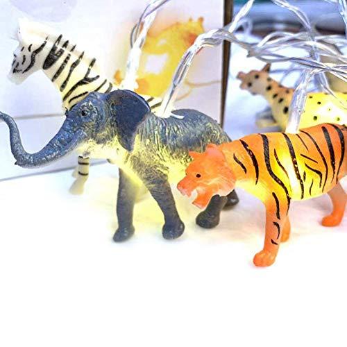 Katyma Cadena de luces LED a pilas, USB, 10 ledes, diseño de animales salvajes, luces de ambiente, decoración para habitación de los niños, interiores, dormitorio, fiesta