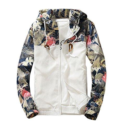 Jacket Coat Men, Auwer Floral Bomber Jacket Men Hip Hop Slim Fit Jacket Coat Men's Hooded Jackets (XL, White)