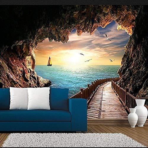 Tapiz de Camino de Cueva Paisaje Tapiz Colgante de Pared decoración de habitación Familiar Sala de Estar Dormitorio Pared de Fondo -150x100cm