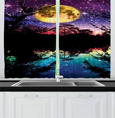 Cortinas de cozinha Ambesonne roxas, estrelas luminosas do lago no céu noturno com árvores design moderno contemporâneo, cortinas de janela, conjunto de 2 painéis para decoração de cozinha e café, 139,66 cm x 99,06 cm, cores escuras