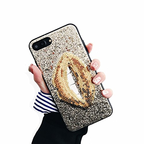 YonMeet 3D Lips Case for iPhone X 10 8 7 Plus Bling Glitter Sexy Makeup Case TPU Bumper PC Hard Protective Shining Lipstick Kiss Covers (iPhone 7Plus/8Plus 5.5'', Gold)