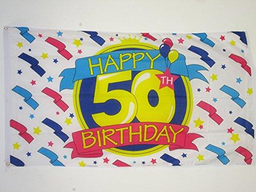 AZ FLAG Drapeau Joyeux Anniversaire 50 Ans 150x90cm - Drapeau Happy Birthday 90 x 150 cm - Drapeaux