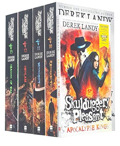 Skulduggery Pleasant Book Series 10-13 & World Book Day Collection 5 Books Set By Derek Landy (Resurrection, Midnight, Bedlam, Seasons of War, Apocalypse Kings)