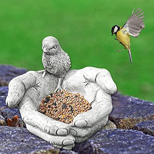 Yongqin Garden Gnome Statue Bird Bath & Feeder - Hand-Shaped Outdoor Bird Feeder Seed Tray For Bird Feeder And Bath, Garden Statue Holding Chick Hands Whimsical Bird Feeder For Patio, Porch,