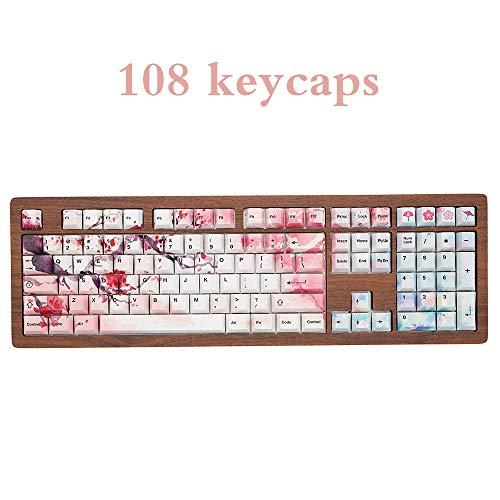 PBT Cherry Blossom Keycap Orignal Profil for 60 87 104 108 Keys Mechanical Keyboard Cherry G80 Customized 68 Keyboard Key Cap (108keys)