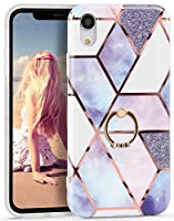 Imikoko iPhone XR リングケース ソフト 大理石 リング付き メタルスタンド スタンド機能 ストラップホール付き かわいい 耐衝撃 レンズ保護 レディース カバー(アイフォンxr ブルー三角)
