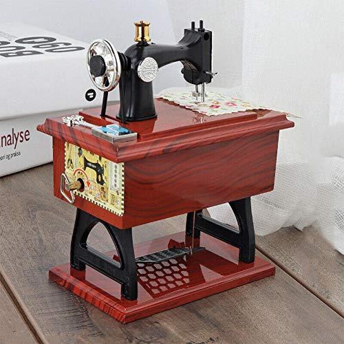 TOMMY LAMBERT Spieluhr, Retro-Nostalgie, Mini-Holz-Nähmaschinen-Form, Spieluhr, Weihnachten, Hochzeit, Geburtstag, Spielzeug, Dekoration für Zuhause und Schreibtisch
