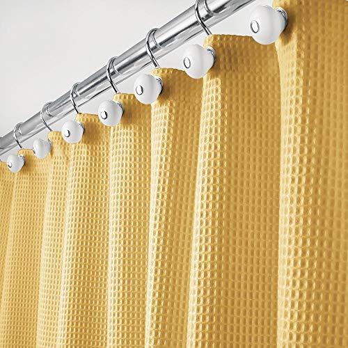 mDesign Luxus Duschvorhang – weicher Badewannenvorhang mit Waffelmuster – leicht zu pflegener Duschvorhang – senfgelb