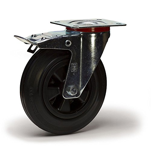 Roulette pivotante à frein diamètre 200 mm caoutchouc noir - 205 Kg