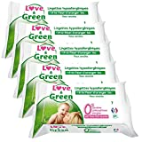 Love & Green Lingettes Hypoallergéniques Fleur d'Oranger Bio 64 Pièces - Lot de 5