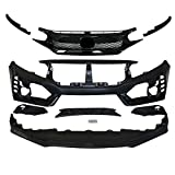 IKON MOTORSPORTS Front Bumper + Lip+ Grille Compatible With 2016-2021 Honda Civic, TR Black PP...