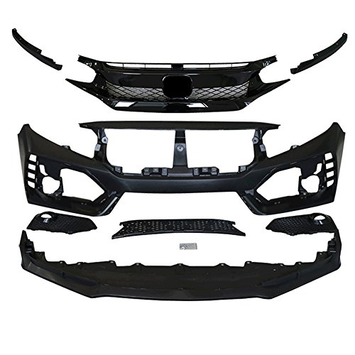 IKON MOTORSPORTS Front Bumper + Lip+ Grille Compatible With 2016-2020 Honda Civic | TR Black PP Injection & ABS 10th Gen Hood Protection Bodykits